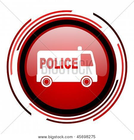 police red circle web glossy icon on white background