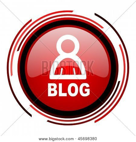 blog red circle web glossy icon on white background