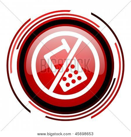 no phones red circle web glossy icon on white background