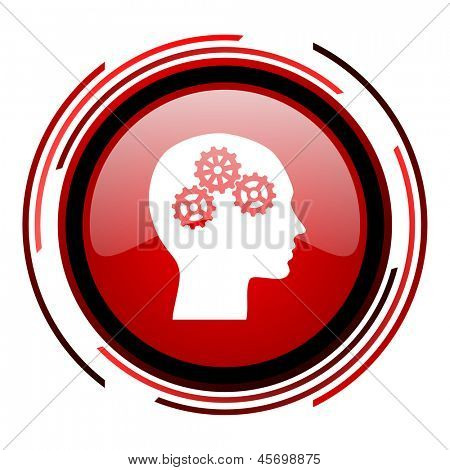 head red circle web glossy icon on white background