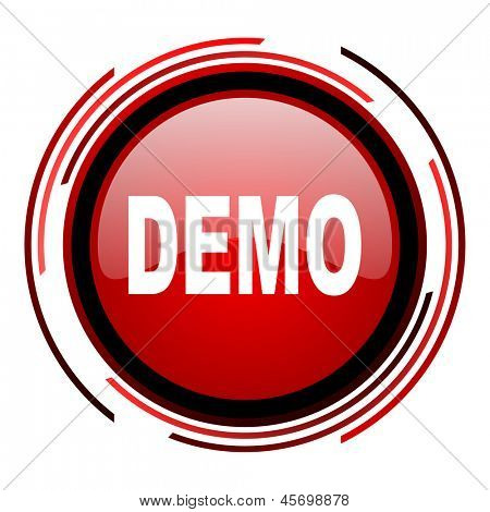 demo red circle web glossy icon on white background