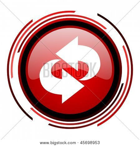 rotate red circle web glossy icon on white background
