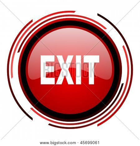 exit red circle web glossy icon on white background