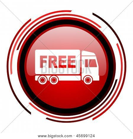 free delivery red circle web glossy icon on white background