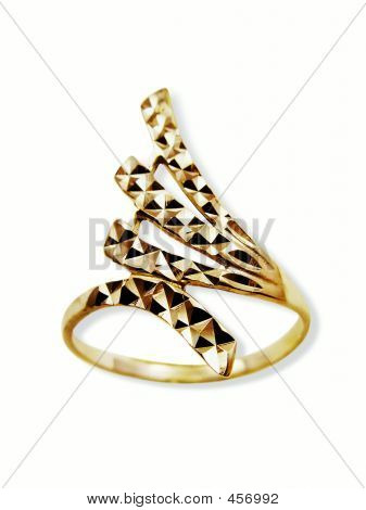 Golden Ring  In Form Diadem. Isolated