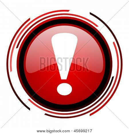 exclamation sign red circle web glossy icon on white background