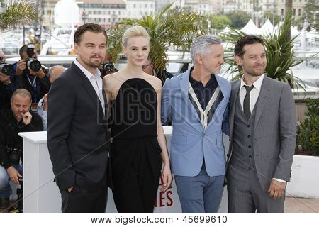 CANNES - MAY 15: Leonardo DiCaprio, Carey Mulligan, Baz Luhrmann, Tobey Maguire at the photocall for 'The Great Gatsby' at The 66th Annual Cannes Film Festival on May 15, 2013 in Cannes, France