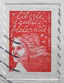A stamp printed in France shows image celebrating liberty equality and fraternity
