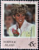 NORFOLK ISLAND - CIRCA 2008: A stamp printed in Norfolk Island shows Diana Princess of Wales