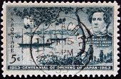 A stamp printed in the USA shows Commodore Matthew C.Perry US Navy Centennial of opening of Japan