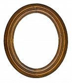pic of oval  - vintage wooden oval frame isolated over white background clipping path - JPG