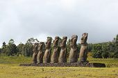 foto of stature  - Seven moai platform at  Eastern Island - JPG
