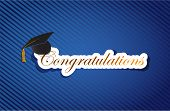 stock photo of tassels  - education congratulations sign background on a blue lines pattern - JPG