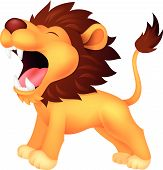 stock photo of growl  - Vector illustration of Lion cartoon roaring isolated on white background - JPG
