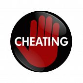 stock photo of cheating  - A black and red button with word Cheating and hand symbol isolated on white Stop Cheating - JPG