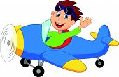 pic of aerobatics  - Vector illustration of Little Boy cartoon Operating a Plane - JPG