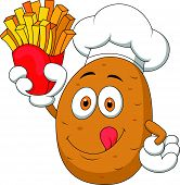 image of batata  - Vector illustration of Potato Chef cartoon Holding Up A French Fries - JPG