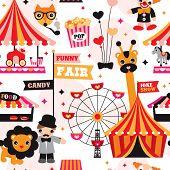 pic of funfair  - Seamless kids circus fun fair illustration fabric background pattern in vector - JPG