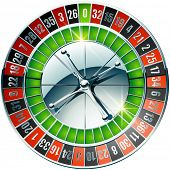 Vector illustration of detailed casino roulette wheel with chrome elements