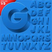 Vector alphabet of simple 3d letters. Sans bold. Upper cases Blue
