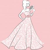 picture of evening gown  - silhouette of bride in lace wedding dress with bouquet - JPG