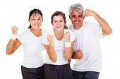 excited sporty family on white background