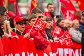 MOSCOW - MAY 1: Unidentified communist party supporters take part in a rally marking the May Day, Ma