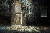 stock photo of abandoned house  - Old abandoned creepy house - JPG