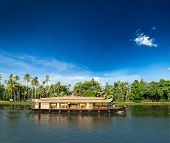 stock photo of houseboats  - Kerala India travel background  - JPG