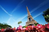 foto of arch  - sunny morning and Eiffel Tower - JPG