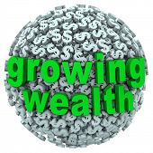 image of prosperity sign  - The words Growing Wealth on a ball made of dollar signs or currency to illustrate accumulating riches through income - JPG