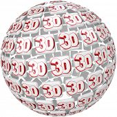 The word 3D on tiles in a round three dimensional sphere to illustrate special effects in a move, te