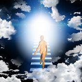 picture of stairway to heaven  - Man trvels up stairway into heavens - JPG