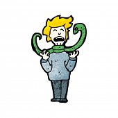 image of strangle  - cartoon snake strangling man - JPG