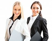 Two business women on a white background