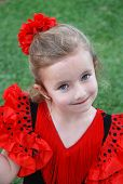 picture of senorita  - A little girl wearing a traditional flamenco costume - JPG