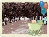 Retro card with a baby in a pram on a city park background
