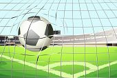 Illustration of a ball hitting the soccer goal