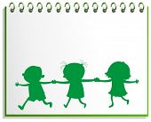 Illustration of a notebook with a drawing of three kids on a white background