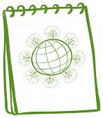 Illustration of a notebook with a sketch of a globe on a white background