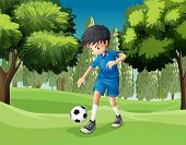 Illustration of a soccer player kicking the ball