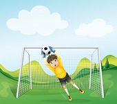 Illustration of a boy catching the soccer ball