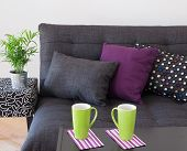 stock photo of futon  - Sofa decorated with bright cushions green plant and big cups on a table - JPG