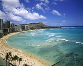 stock photo of waikiki  - Waikiki Beach and Diamond Head Crater on the Hawaiian Island of Oahu