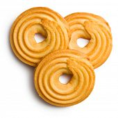 sweet ring biscuit on white background
