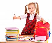 picture of knapsack  - Child with school supplies and book - JPG