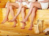 stock photo of sauna  - Young woman in sauna - JPG