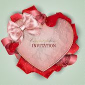 Beautiful invitation with rose petals
