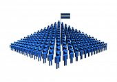 Pyramid of abstract people with Nicaragua flag illustration