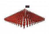 Pyramid of abstract people with Namibia flag illustration